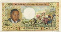 5000 Francs - 1000 Ariary MADAGASCAR  1966 K.852b TTB+