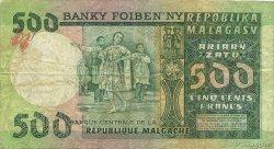 500 Francs - 100 Ariary MADAGASCAR  1974 P.64a TB