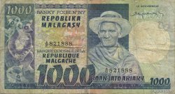 1000 Francs - 200 Ariary MADAGASCAR  1974 P.65a TB