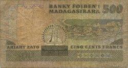 500 Francs - 100 Ariary MADAGASCAR  1988 P.71a B