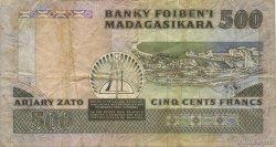500 Francs - 100 Ariary MADAGASCAR  1988 P.71a TB