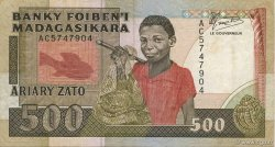 500 Francs - 100 Ariary MADAGASCAR  1988 P.71a TTB