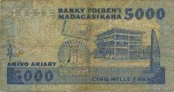 5000 Francs - 1000 Ariary MADAGASCAR  1988 P.73a B+
