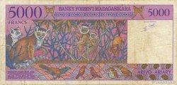 5000 Francs - 1000 Ariary MADAGASCAR  1994 P.78b TTB