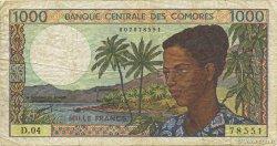 1000 Francs COMORES  1994 P.11b TB
