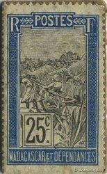 25 Centimes Zébu MADAGASCAR  1916 P.18 SUP