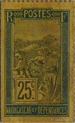 25 Centimes Zébu MADAGASCAR  1916 P.30 SPL