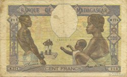100 Francs MADAGASCAR  1937 P.40 TB