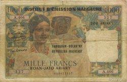 1000 Francs - 500 Ariary MADAGASCAR  1961 P.54 pr.TB