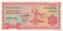 20 Francs BURUNDI  2001 P.27d NEUF