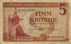 5 Kronur ISLANDE  1957 P.37a TB+