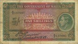 5 Shillings MALTE  1939 P.12 TB+