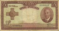 1 Pound MALTE  1951 P.22a TB