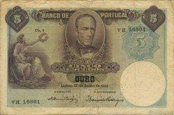 5 Escudos PORTUGAL  1919 P.114 TB