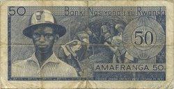 50 Francs RWANDA  1971 P.07b TB+