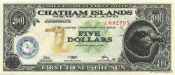 5 Dollars ILES CHATHAM  2001  NEUF