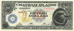 15 Dollars ILES CHATHAM  2001  NEUF