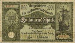 1000 Mark DANTZIG  1922 P.15 TTB