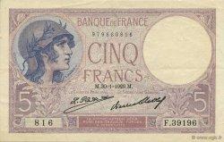 5 Francs VIOLET FRANCE  1929 F.03.13 pr.SUP