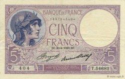 5 Francs VIOLET FRANCE  1933 F.03.17 TTB à SUP