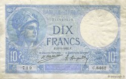 10 Francs MINERVE FRANCE  1922 F.06.06 TB