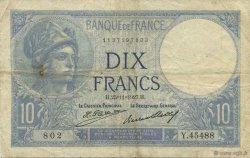 10 Francs MINERVE FRANCE  1927 F.06.12 TB