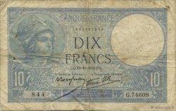 10 Francs MINERVE modifié FRANCE  1939 F.07.12 pr.TB
