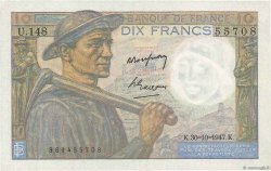 10 Francs MINEUR FRANCE  1947 F.08.18 aAU