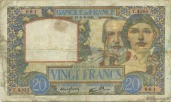 20 Francs TRAVAIL ET SCIENCE FRANCE  1941 F.12.15 TB