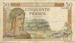 50 Francs CÉRÈS FRANCE  1935 F.17.18 TTB