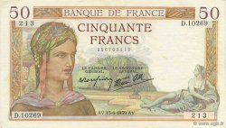 50 Francs CÉRÈS modifié FRANCE  1939 F.18.26 TTB+