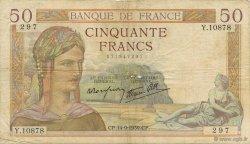 50 Francs CÉRÈS modifié FRANCE  1939 F.18.30 TB
