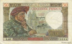 50 Francs JACQUES CŒUR FRANCE  1941 F.19.07 TTB+