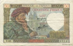50 Francs JACQUES CŒUR FRANCE  1941 F.19.11 TTB