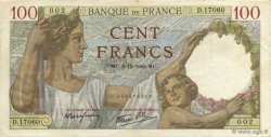 100 Francs SULLY FRANCE  1940 F.26.42 TTB+