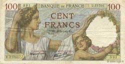 100 Francs SULLY FRANCE  1941 F.26.52 TTB