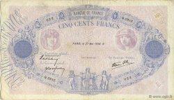 500 Francs BLEU ET ROSE modifié FRANCE  1938 F.31.12 TB