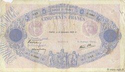 500 Francs BLEU ET ROSE modifié FRANCE  1939 F.31.52 TB
