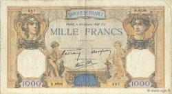1000 Francs CÉRÈS ET MERCURE type modifié FRANCE  1938 F.38.30 TB