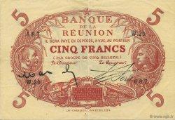 5 Francs Cabasson rouge ÎLE DE LA RÉUNION  1916 P.14 SUP+