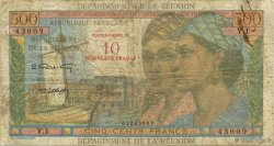 10 NF sur 500 Francs Pointe à pitre ÎLE DE LA RÉUNION  1971 P.54b B+