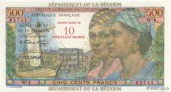 10 NF sur 500 Francs Pointe à pitre ÎLE DE LA RÉUNION  1971 K.445a NEUF