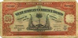 20 Shillings AFRIQUE OCCIDENTALE BRITANNIQUE  1945 P.08b B+