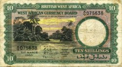 10 Shillings AFRIQUE OCCIDENTALE BRITANNIQUE  1953 P.09a TB+