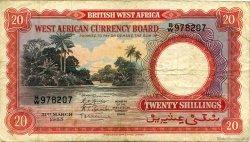 20 Shillings AFRIQUE OCCIDENTALE BRITANNIQUE  1953 P.10a pr.TTB
