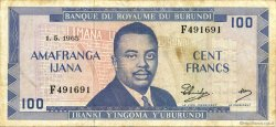 100 Francs BURUNDI  1965 P.12a TTB