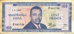 100 Francs BURUNDI  1965 P.12a TTB à SUP