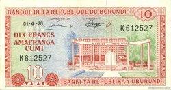 10 Francs BURUNDI  1970 P.20b pr.SPL