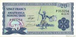 20 Francs BURUNDI  1971 P.21b SPL