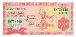 20 Francs BURUNDI  1988 P.27b NEUF